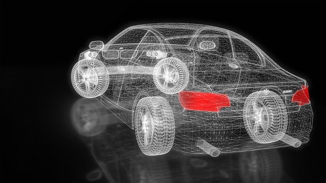 komputerowe badanie stanu samochodu - trójwymiarowy obraz samochodu
